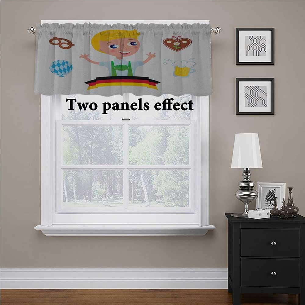 German Window Curtain Valance Bavarian Boy with Blonde Hair with Oktoberfest Symbols Beer Balloon and Pretzel for Living Room Bedroom Multicolor, 56