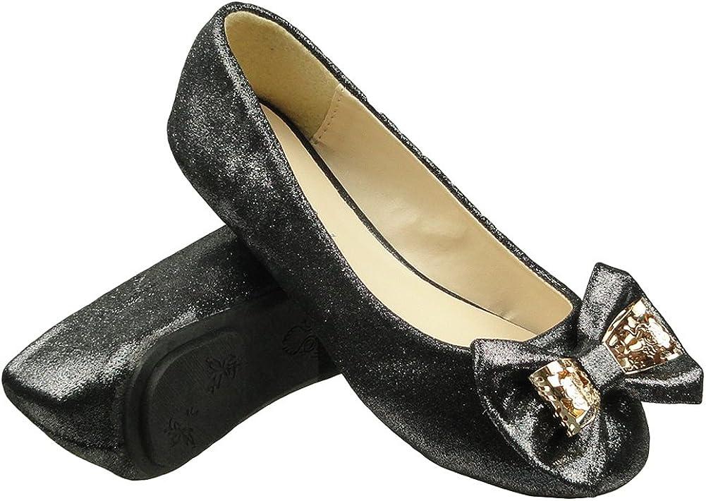 DS By KSC Girls Kids Ballet Flats Glitter Metal Bow Comfort Dress Shoes