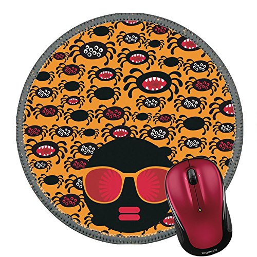 Liili Round Mouse Pad Natural Rubber Mousepad IMAGE ID: 18399448 Black head woman with strange pattern hair Vector (Cute Halloween Hair Ideas)