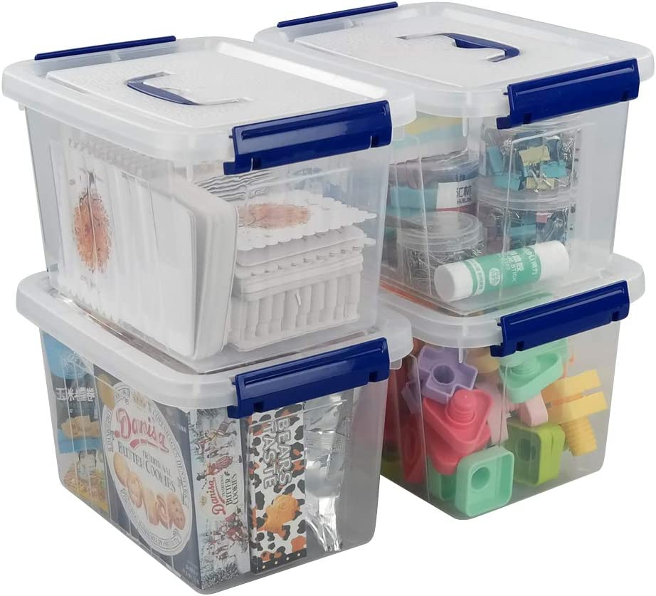 Ggbin 6 Quart Clear Latch Storage Box with Handle and Latches - 4 Pack