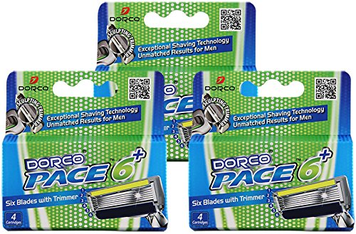 Dorco Pace 6 Plus  Six Blade Razor System With Trimmer  12 Pack Refill  No Handle
