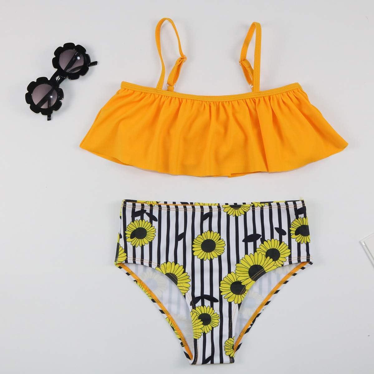 iixpin Kids Girls Summer 2PCS Bikini Set Rash Guard Tankini Spaghetti Shoulder Straps Sunflower Printed Tops with Bottoms
