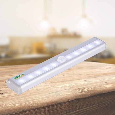 Movimiento detección luces armario, portátil LED de 10 sin hilos detectores de movimiento armario gabinete