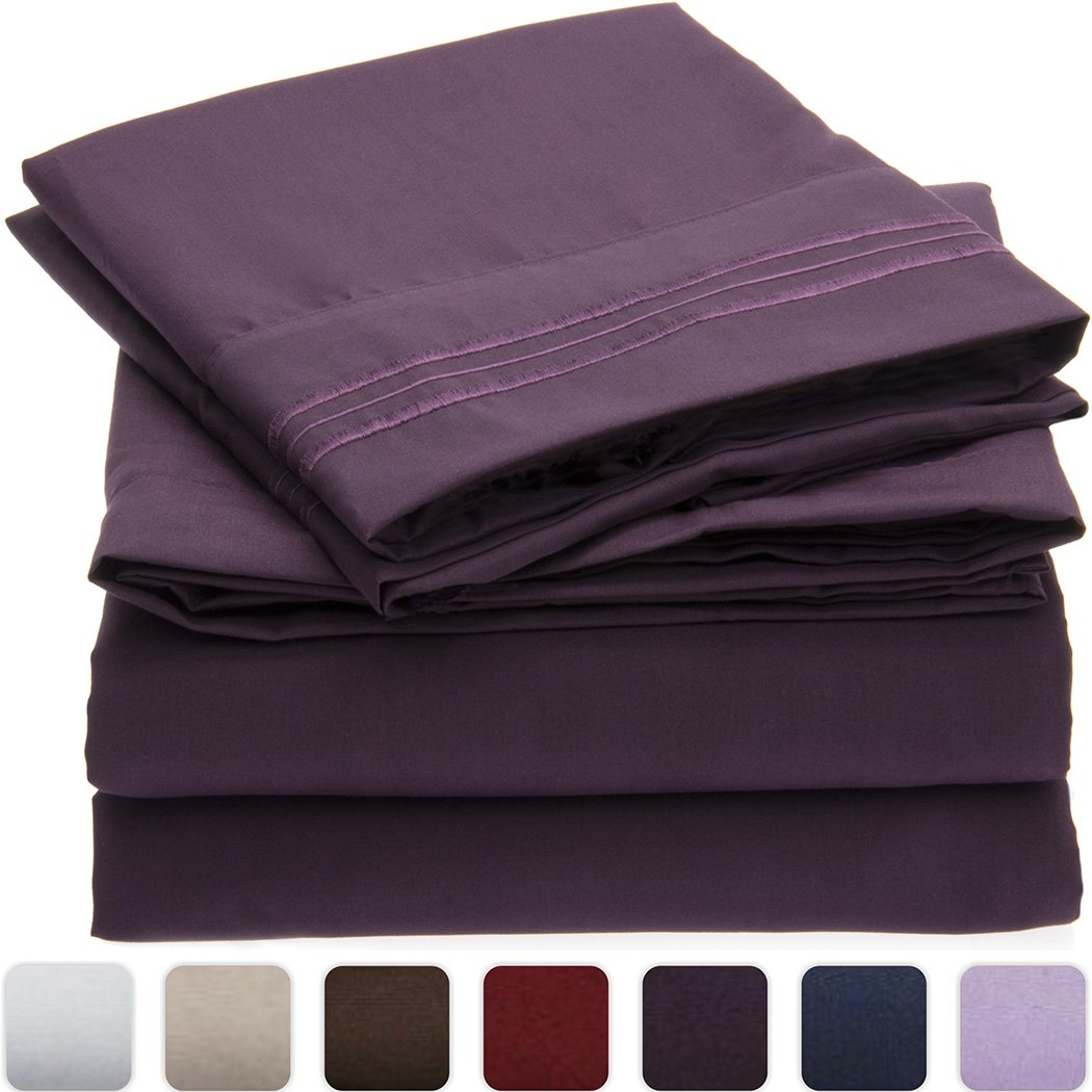 Mellanni 3pcs Bed Sheet Set - HIGHEST QUALITY Brushed Microfiber 1800 Bedding Queen, Purple