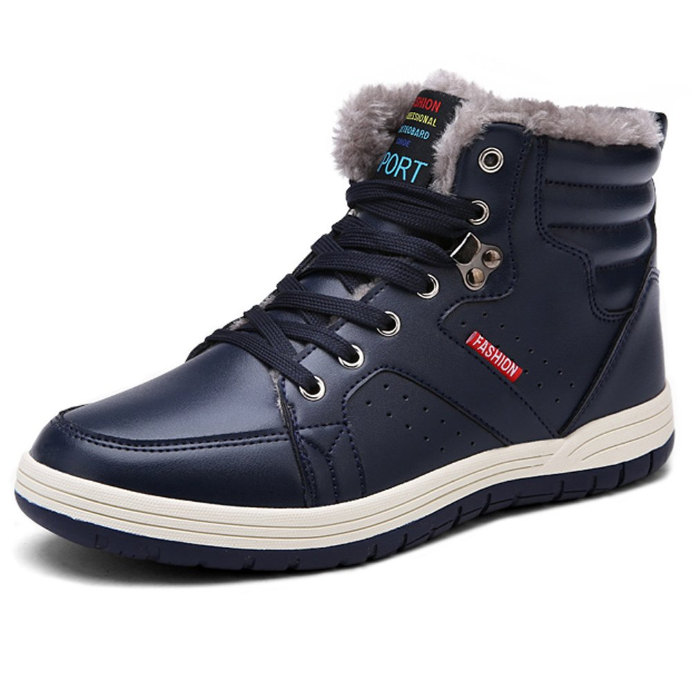 LINGTOM Men's Waterproof Snow Boots Winter Sneakers Boots High Top Lace up Shoes with Fur Lining