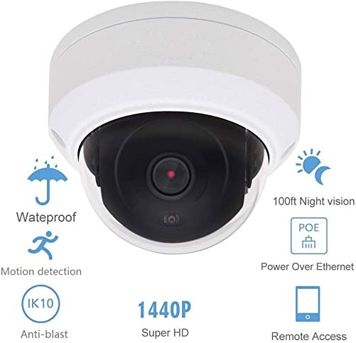POE IP Camera Dome HD 4MP H.265 2.8MM Lens Onvif Outdoor Security Camera with 98ft IR Night Vision, Remote Viewing, IP66 Waterproof CCTV Camera for Outdoor and Indoor