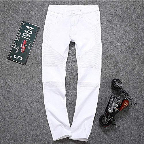 Giovane Lavato Skinny Jeans Pants Destroyed Uomo Denim Biker Bianca Fit Stretch Look Slim In Da pn0xT