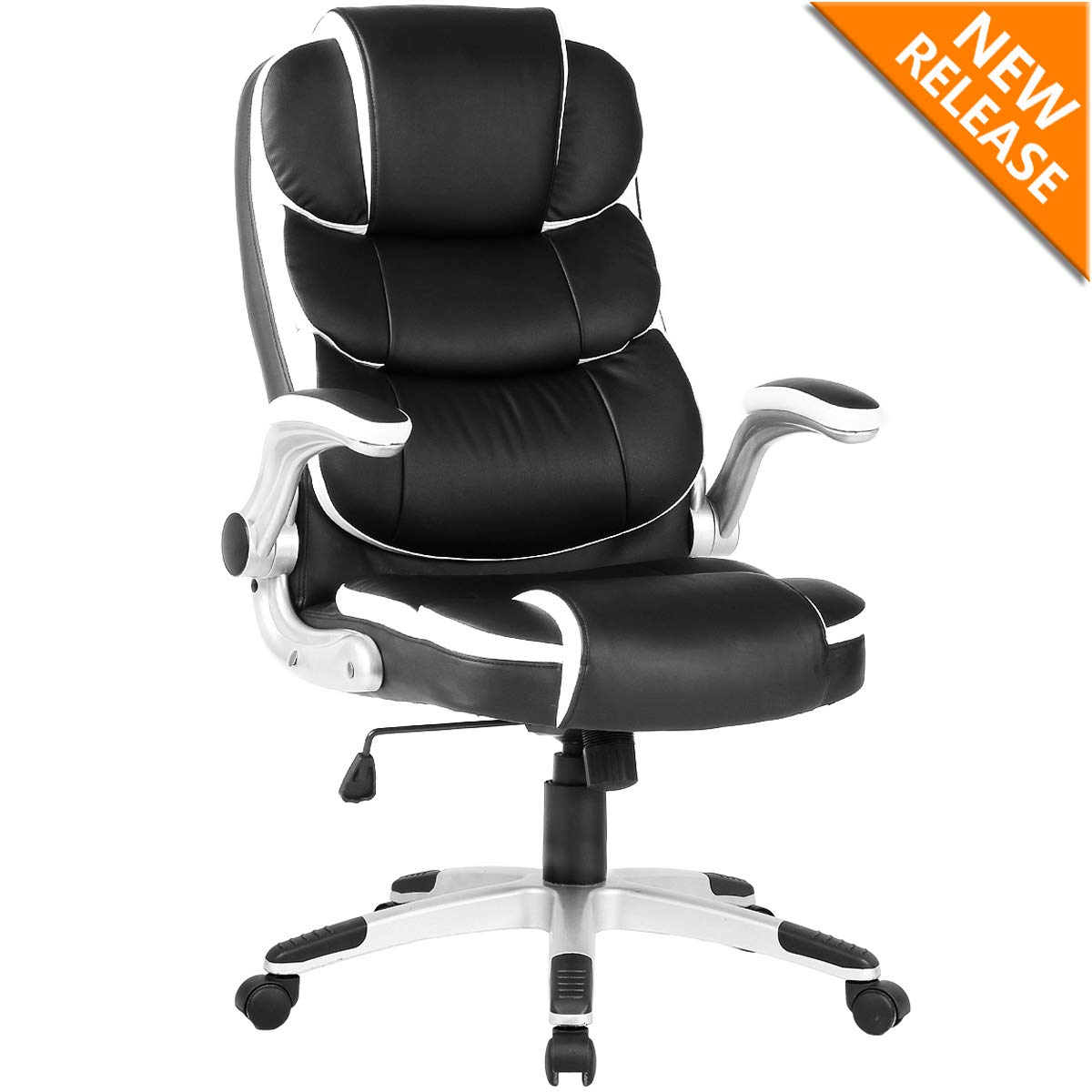 YAMASORO High-Back Executive Office Chair Leather, Adjustable Ergonomic Swivel Computer Desk Chair with Flip-up Armrest,Back Support for Working, Studying (Black)
