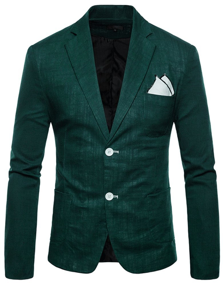FEHAAN Mens Lightweight Slim Fit Suit Two-Button Casual Linen Coats Jacket Dark Green by FEHAAN