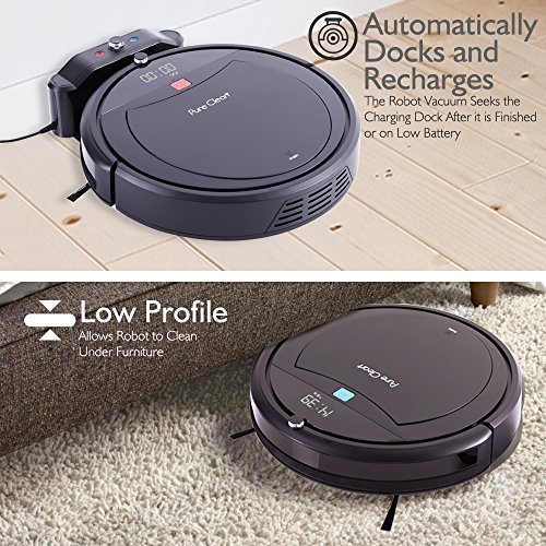 PureClean Robot Vacuum Cleaner with Programmable Scheduled Activation & Automatic Charge Dock - Robotic Auto Home Cleaning for Clean Carpet Hardwood Floor, HEPA Pet Hair & Allergies Friendly - PUCRC99 by PureClean (Image #5)