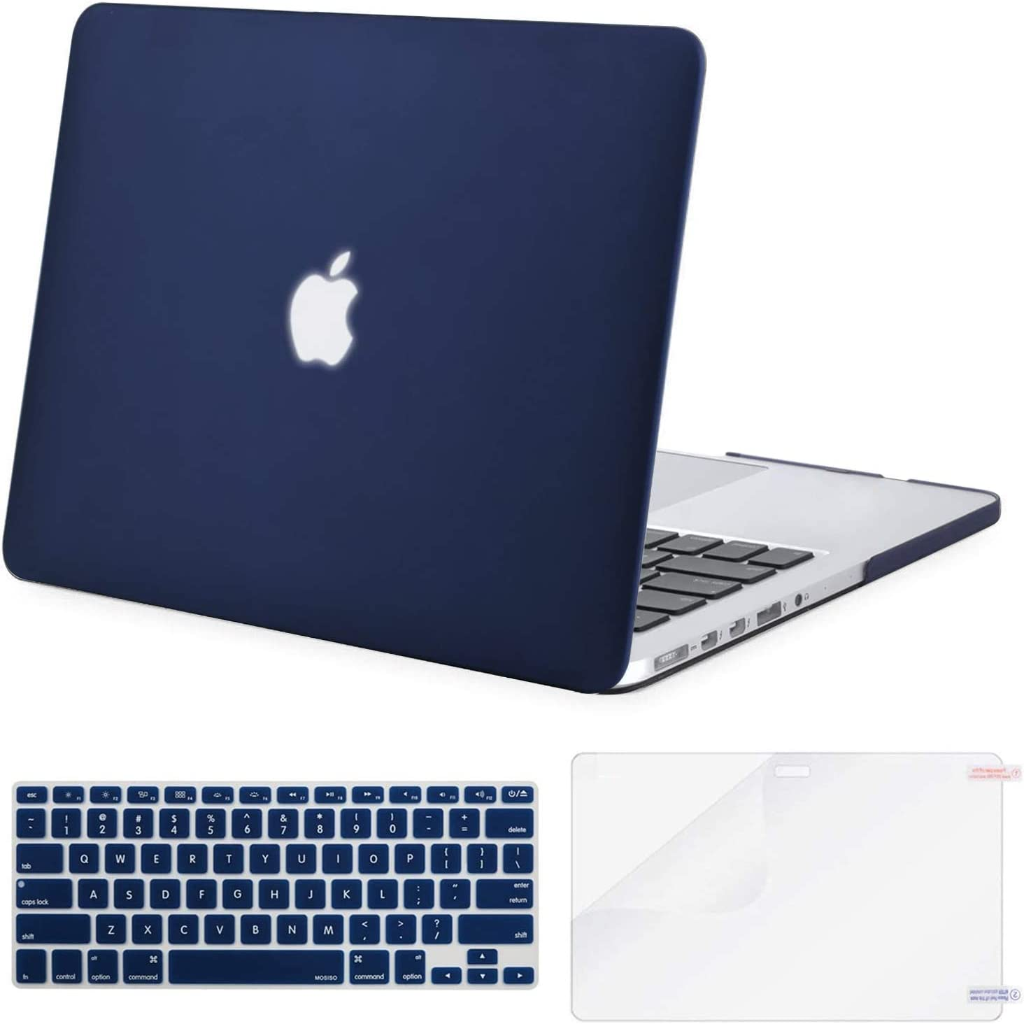 MOSISO Plastic Hard Shell Case & Keyboard Cover & Screen Protector Only Compatible with Older Version MacBook Pro Retina 15 inch (Model: A1398, Release 2015 - end 2012), Navy Blue