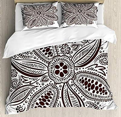 Hedda Clare Luxury Quilt coverOrnamental Flower Motif Art Duvet Cover Set1 Duvet Cover + 2 Pillow Shams