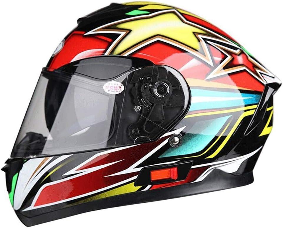 取り外し可能なヘルメット多機能防曇ダブルレンズオートバイ男性と女性のフルフェイスヘルメットカラーオーロラ (Color : 赤, Size : XL)