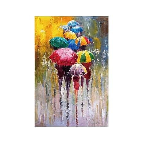 Providethebest Las Personas con Paraguas de Dibujo Aceite Cuadros de la Pared Acuarela Arte de la
