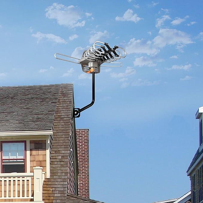 HDTV Antena, Antena de TV digital amplificada de Airfree 150 millas gama 360 ° rotación al aire libre Digital HDTV antenna-wireless remoto con ...