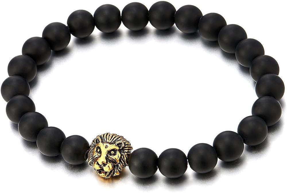 COOLSTEELANDBEYOND Perla Cuentas de 8MM Ónix Negro, Pulsera de Hombre con Color Oro Cabeza de León, Brazalete, Buddhist Prayer Mala