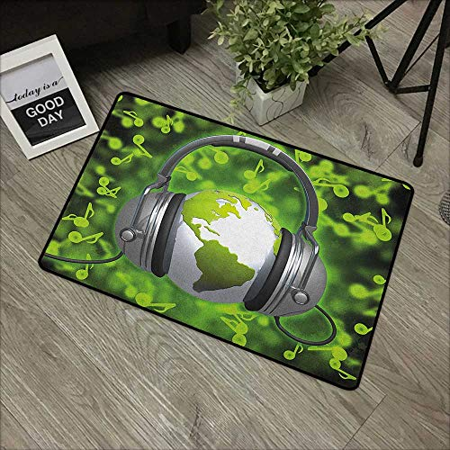 Floor mat W16 x L24 INCH World,World of Music Themed Composition DJ Headphones Musical Notes and Earth Globe, Lime Green Grey with Non-Slip Backing Door Mat Carpet
