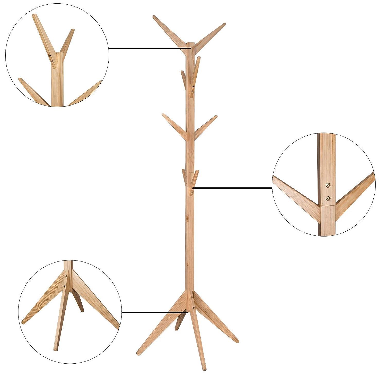 WOLTU Perchero Madera de Pie Tipo de Árbol para Colgar Ropa con 8 Ganchos en 4 Niveles Altura de 180 cm, Color Naturaleza MDF SR0116nt