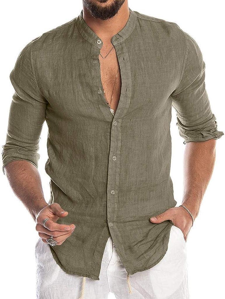 Luckycat Hombre Camisa de Lino sin Cuello Camisa Hombre Cuello Mao ...