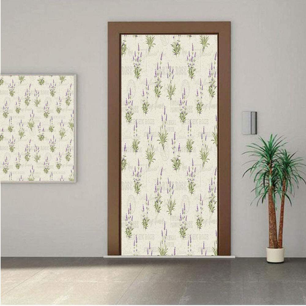 Ylljy00 Lavender Premium Stickers for Door/Wall/Fridge Home DecorVintage Grunge Pattern with Bunch of Herbal Blossoms Faded Retro Texts 32x95 ONE Piece Sticky Mural,Decal,Cover,Skin