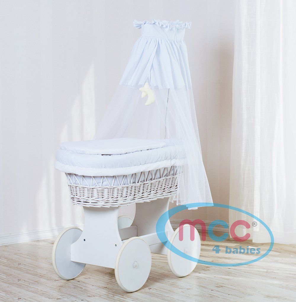 Baby cribs moses baskets - Mcc Full Deluxe Wheeled White Wicker Crib Set Moses Basket With Dressing