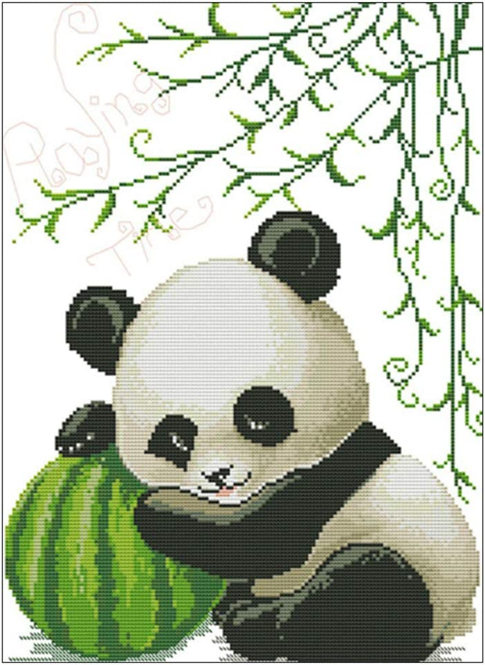 43cm Panda DIY Compt/é 14CT Kit De Broderie Au Point De Croix Imprim/é ZHENGX 33