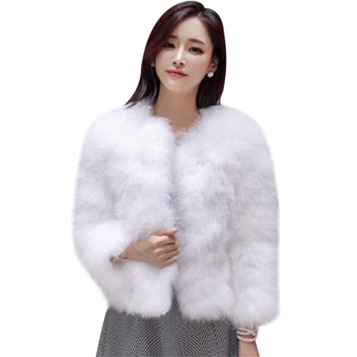 FUNOC Women's Winter Short Faux Coat Fluffy Outerwear Jacket Warm Overcoat
