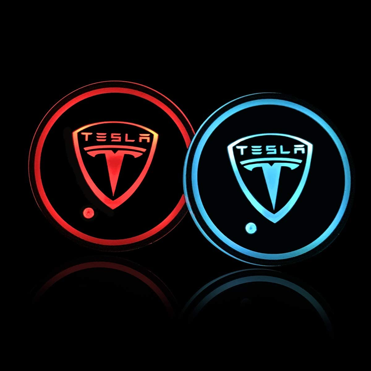 Auto Sport 2PCS LED Cup Holder Mat Pad Coaster with USB Rechargeable Interior Decoration Light Fit Tesla Accessories