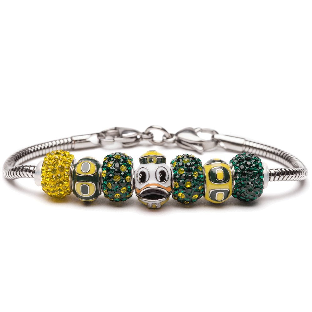 University of Oregon Bracelet   UO Ducks - Bracelet with 3 UO Beads and 4 Crystal Charms   Officially Licensed University of Oregon Jewelry   UO Logo   University of Oregon Gifts   Stainless Steel
