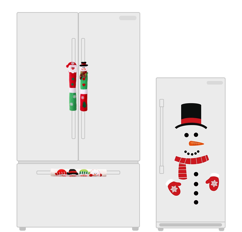 jollylife Christmas Decorations Set-Santa Claus/Snowman Handle Covers+Snowman Clings- Kitchen Appliance Decals