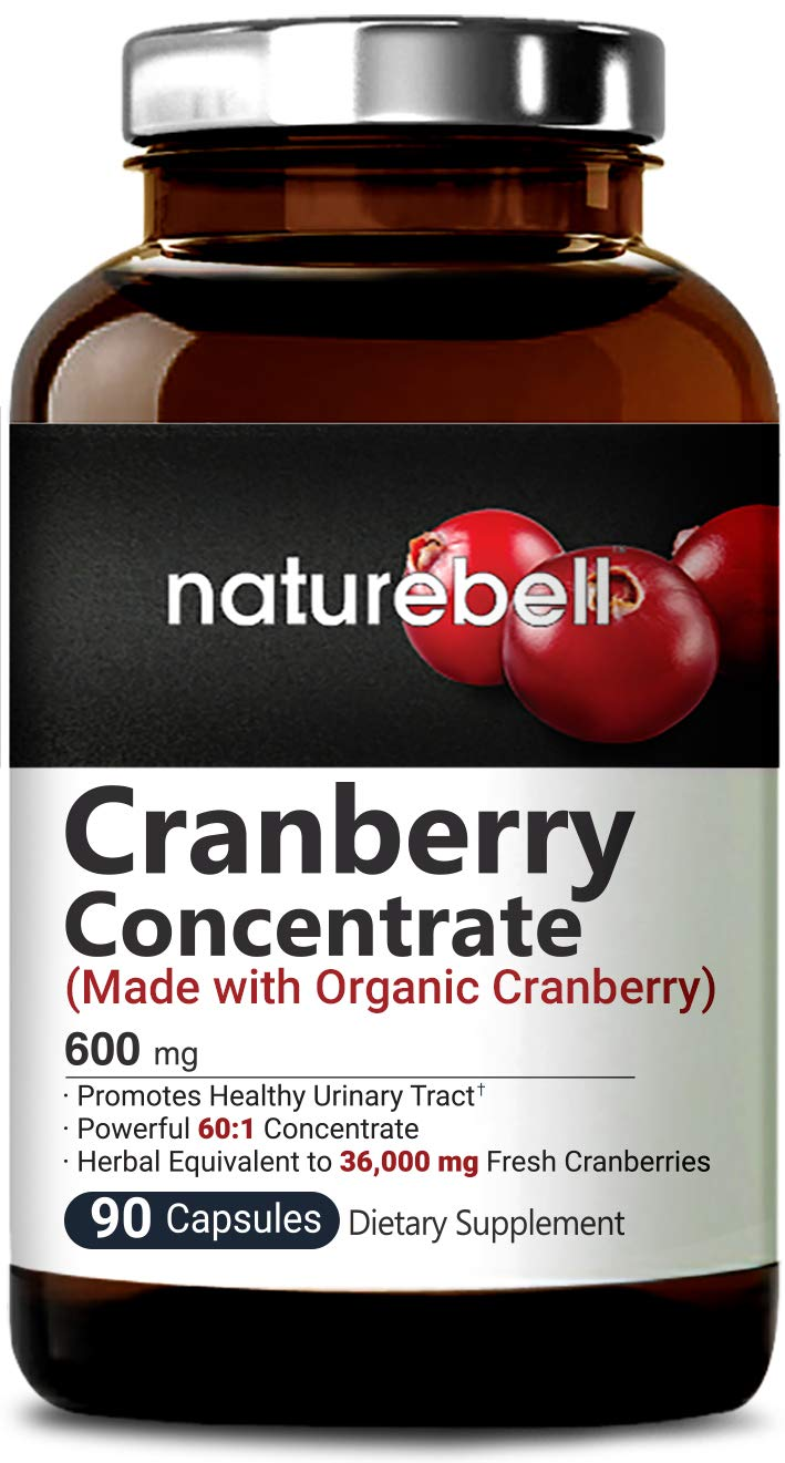 Organic Cranberry Whole Fruit Concentrate, 90 Capsules, Equivalent to 36,000mg of Fresh Cranberries, Supports Urinary Tract Cleanse, Kidney, Bladder Health & Immune System, Non-GMO & Made in USA