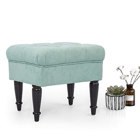 Adeco Ottoman Stool Seat – Modern Mid-Century -18 Inches Height Light Blue