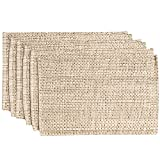 Sweet Home Collection Trends Two Tone 100% Cotton Woven Placemat (6 Pack), 13'' x 19'', Eggshell