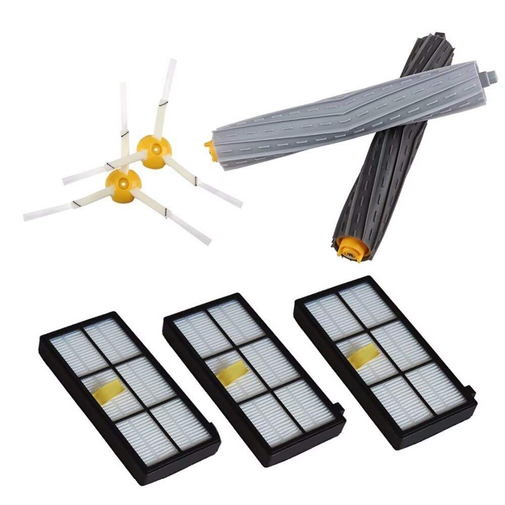2pcs Side Brush 3-armed+ Filters +Tangle-Free Debris Extractor for iRobot Roomba 800 900 Vacuum Cleaners 980 890 880 870 860 by Unknown