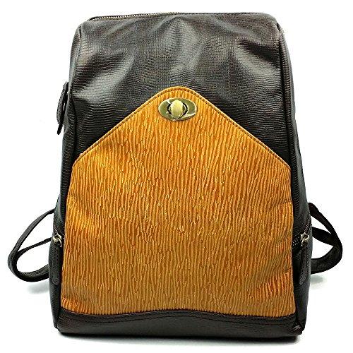 Capacidad grande impermeable Contraste de la mochila de las mujeres de la vendimia Color de contraste de cuero genuino Daypack Cremallera impermeable Compras de viajes al aire libre Bolso al aire libr