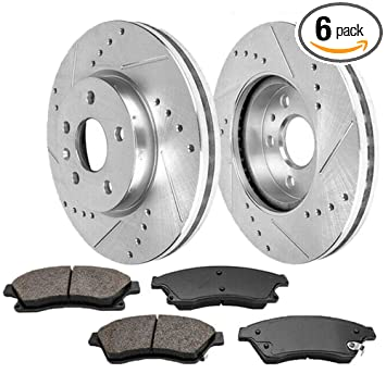 Front Set Premium Performance Drilled and Slotted Disc Brake Rotors Pair