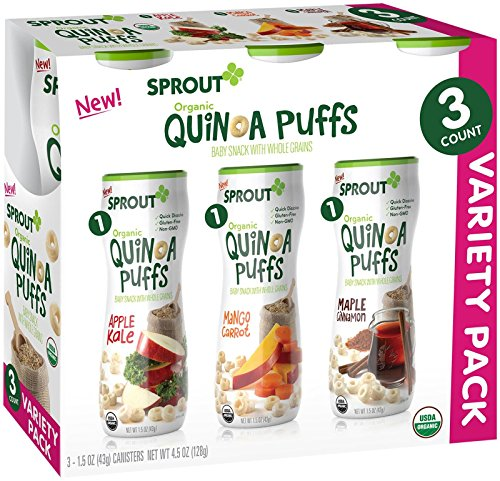 Sprout Organic Quinoa Puffs Baby Snack Variety Pack, Apple Kale, Carrot Mango, and Maple Cinnamon, 3 Count