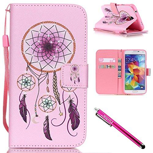 Galaxy S5 mini Case, Firefish [Kickstand] Design [Card/Cash Slots] Premium PU Leather (Card Ex Wallet)