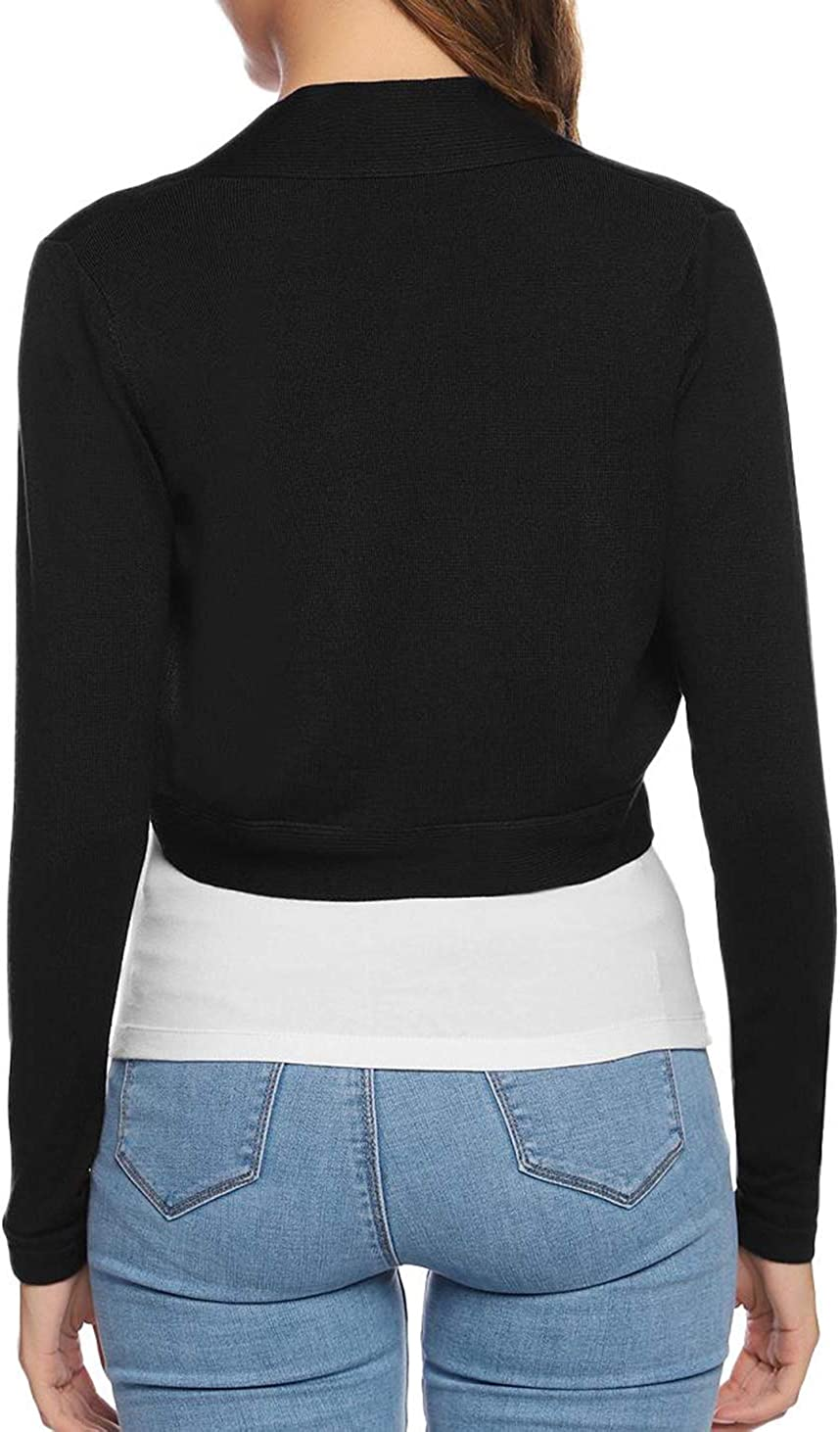 Akalnny Women Long Sleeve Open Front Bolero Shrug Knitted Cropped Cardigans