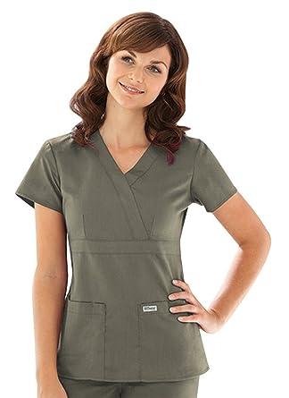 Amazon Greys Anatomy 4153 3 Pocket Mock Wrap Moss Xl