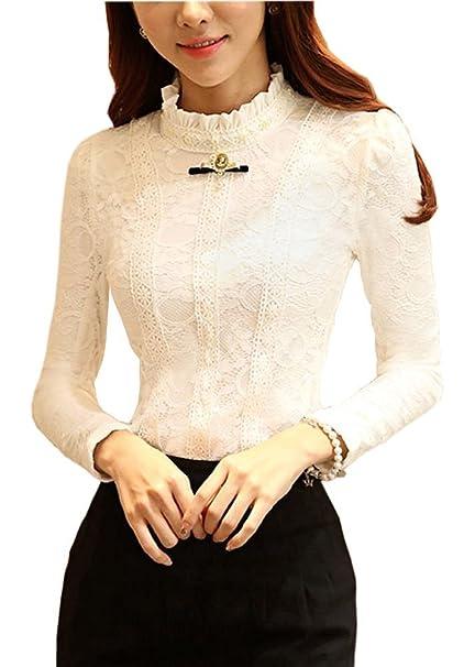 Minetom Mujer Elegante Cordón Blusa Manga Larga Slim Fit Camisas OL Negocio Tops Shirts Blanco B