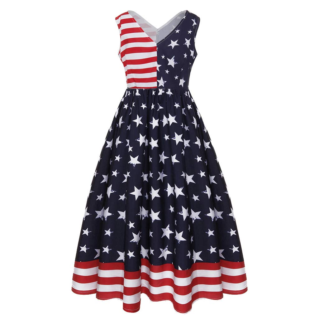Sunshinehomely 4th of July Women Dress Women Vintage Sleeveless V Neck American Flag Printing Evening Party Swing Dress (Blue, L)
