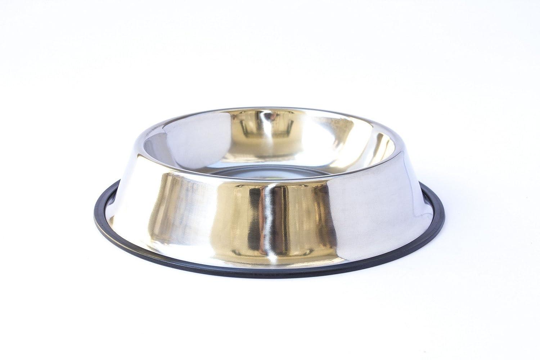 Ciotola antiscivolo per alimenti da circa 12(Ø)cm 300 ml . Mangiatoia o abbeveratoio in acciaio di facile pulizia, non ossida e dal profilo anti-ribaltamento, ideale per animali domestici di tutte le taglie. GeViPet®