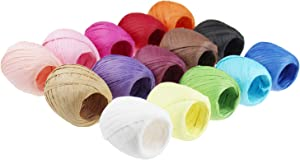 Raffia Paper Ribbon Twine Strings 15 Rolls 15 Colors Set for DIY Craft Gift Box Packing
