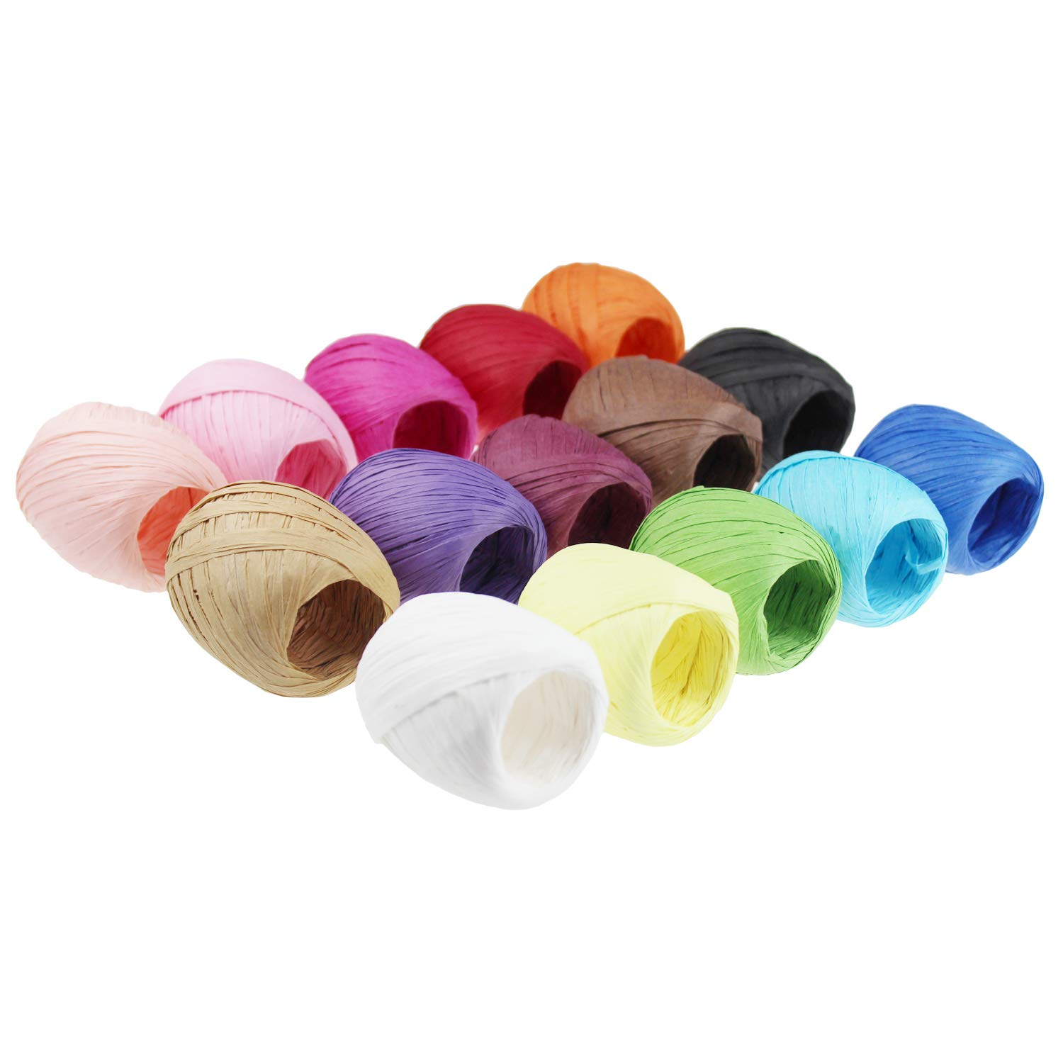 Raffia Paper Ribbon Twine Strings 15 Rolls 15 Colors Set for DIY Craft Gift Box Packing by Goodma