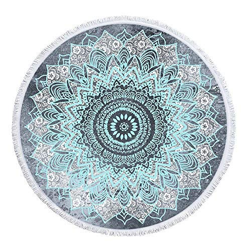 Mimihome Mandala Beach Towel,Indian Boho Hippie Bohemian Round Beach Towels with Tassel,Super Water Absorbsent and Dry Faster Beach Throw Blanket Yoga Mat, 59 Inch,Grey White Blue