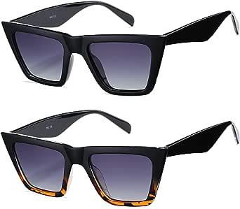 Retro Cat Eye Polarized Sunglasses for Women Men Trendy Square Shades Style