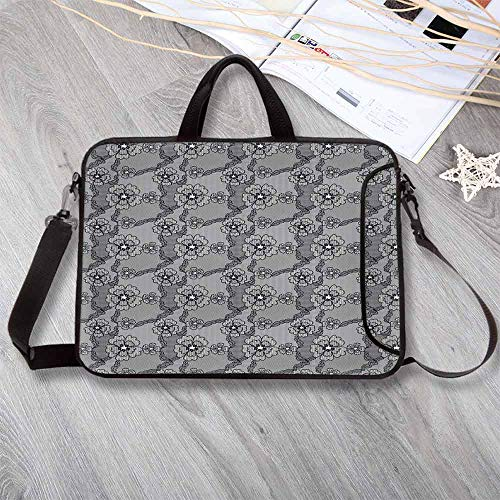 (Dark Grey Portable Neoprene Laptop Bag,Black Lace Style Pattern with Blossoms Victorian Gothic Flowers Bridal Print Decorative Laptop Bag for Travel Office School,15.4