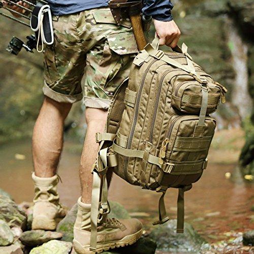 Tactical Backpack Molle Bug Out Bag Army Assault Pack Backpack Military Rucksack Waterproof Backpacks(Coyote 45L)