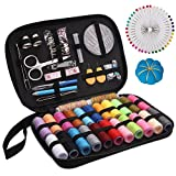 Arts & Crafts : MumCraft Sewing Kit with Over 130 Sewing Accessories, 24 Unique Spools of Thread -24 Color, Mini Sewing Kits for Adults, Beginner,Traveller, With Zipper Portable Case, Emergency